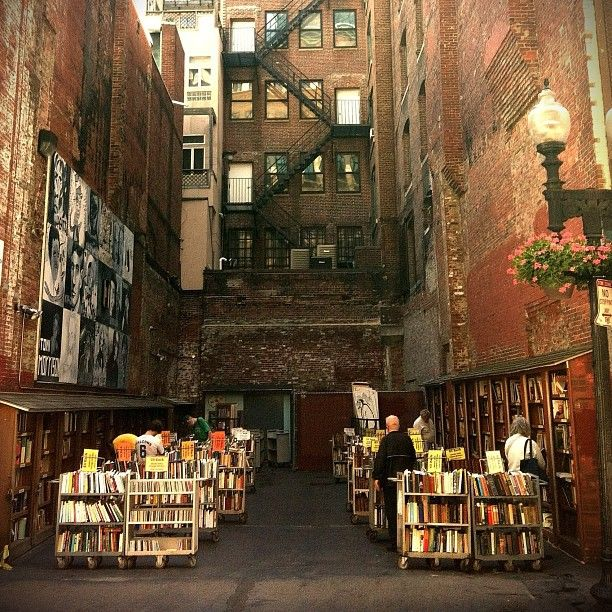 """I use to work on this street…miss stopping by and reading in the alley. bookmania: """" Brattle Book Shop at 9 West Street in Boston, Massachusetts. (via gingenious) """""""