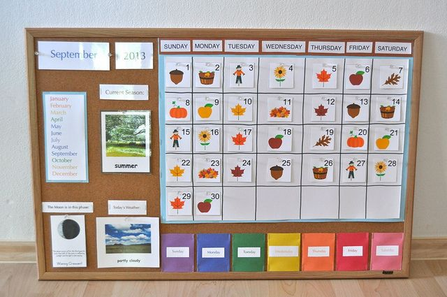 DIY calendar board for preschoolers/kindergarten. DD is obsessed with calendars right now, might be perfect for her.