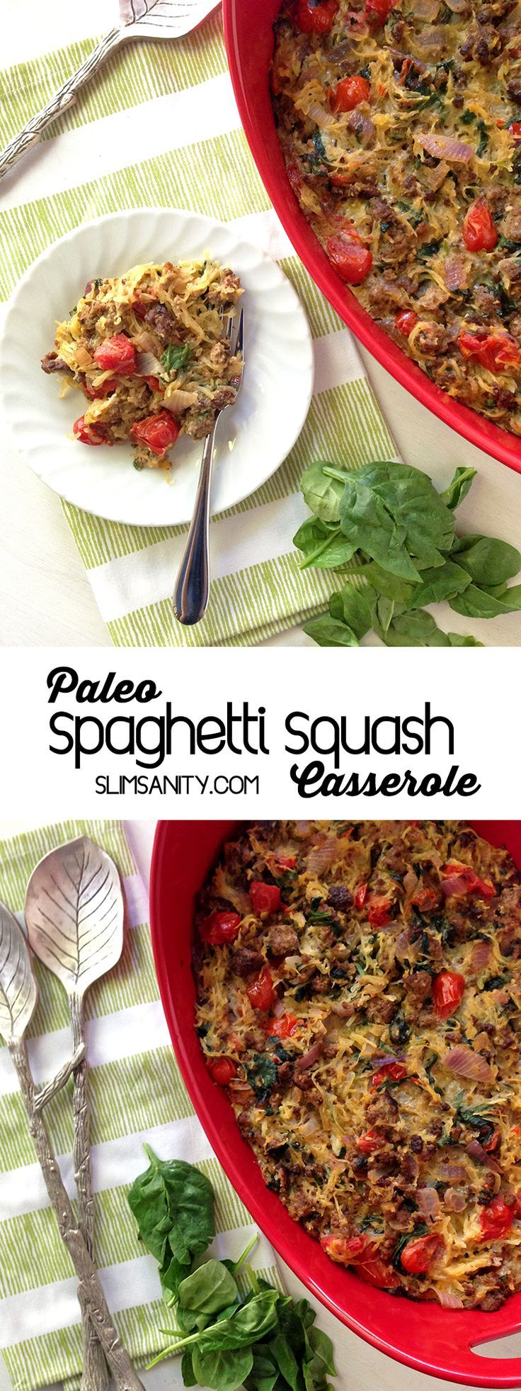 Paleo Spaghetti Squash Casserole - healthy and easy dinner recipe!
