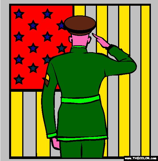 Soldier+Saluting+the+Flag+Online+Coloring+Page