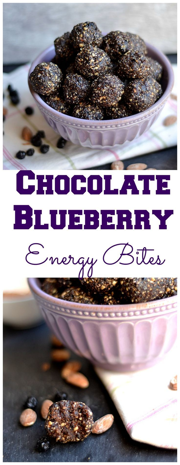 Super simple and nutrient dense energy bites that taste just like chocolate covered blueberries! Vegan, GF, and Paleo.