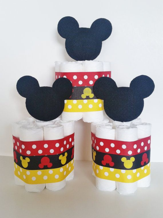 Mickey Mouse Diaper Cake Mickey Mouse Baby by LilLoveBugsCreations
