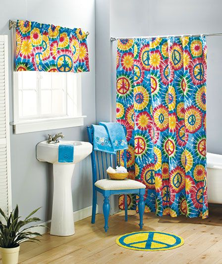 hippie styled bathrooms | Bathroom curtain with rainbow pattern Peace symbol accessories ...