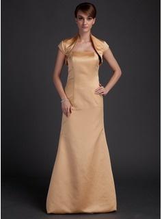 Sheath Strapless Floor-Length Satin Bridesmaid Dresses (007000865)