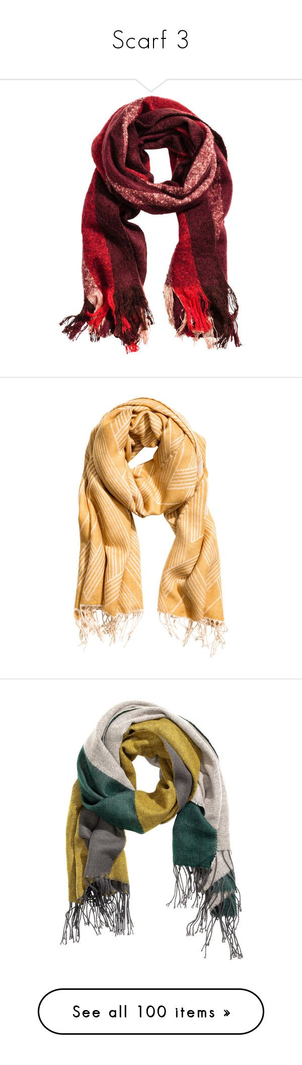 """""""Scarf 3"""" by laumariborche on Polyvore featuring accessories, scarves, fringe shawl, fringe scarves, yellow scarves, print scarves, yellow shawl, woven scarves, striped scarves y pink shawl"""