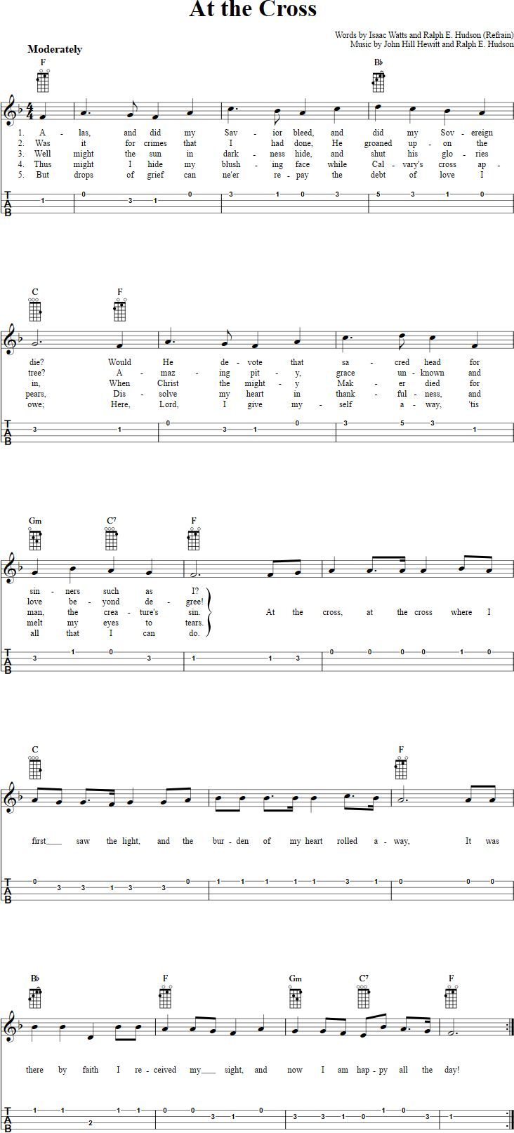 The 25 best at the cross chords ideas on pinterest piyano music at the cross chords sheet music and tab for ukulele with lyrics hexwebz Images