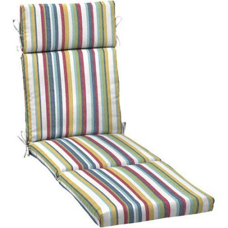 Mainstays Outdoor Patio Chaise Lounge Cushion, Multiple Patterns, Blue