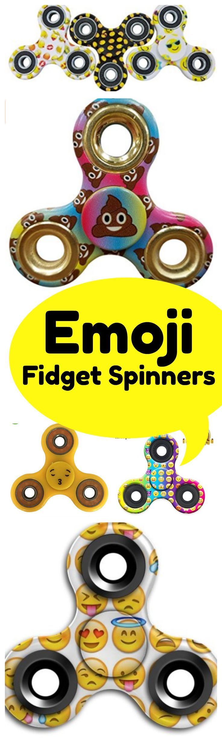 Emoji Fidget Spinners - combine the crazy of fidget spinners with the new Emoji Movie! From poop emojis to smiling emojis and even kissing emojis - there are fidget spinners for everyone!
