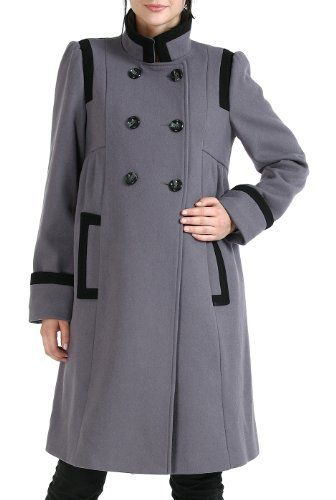 Shop  Momo Maternity Women's 'Madison' Double Breasted Wool Blend Coat – Gray M