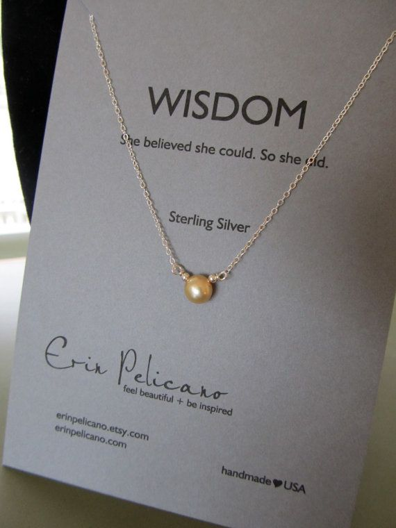 Golden Pearl Necklace. Sterling Silver. Inspiration Wisdom. Graduation. Simple Jewelry
