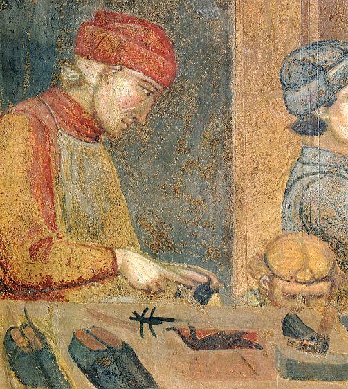 Ambrogio Lorenzetti - Botteghe urbane (Gli Effetti del Buono Governo in città) - affresco - 1338-1339 - Siena - Palazzo Pubblico, Sala dei Nove o Sala della Pace