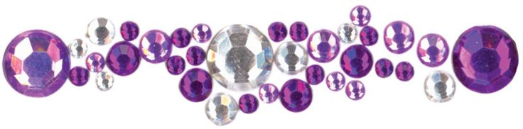 lavender, purple and clear crystal round sticker - 3 ct