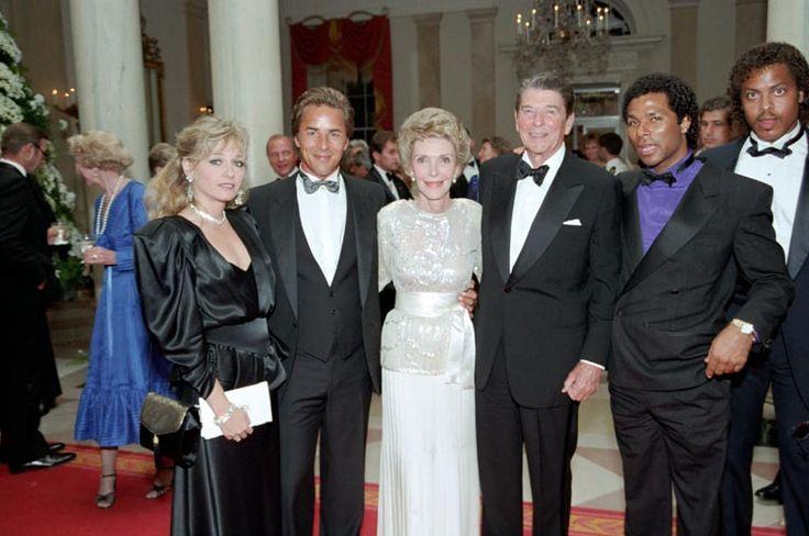Don Johnson, his girlfriend Patti D'Arbanville, Philip Michael Thomas with Ronald  Nancy Reagan
