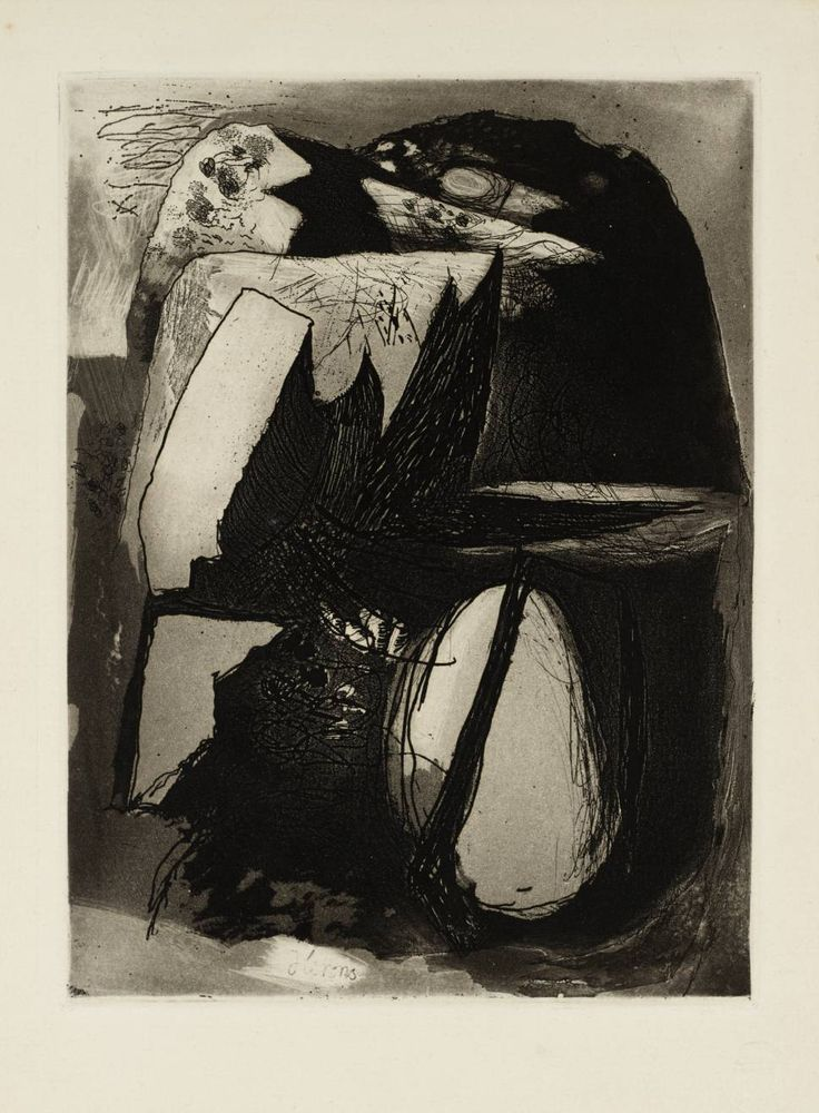 'Clegyr Boia' (1938) by British artist Graham Sutherland OM (1903‑1980). Etching & aquatint on paper, 124 x 188 mm. via the Tate