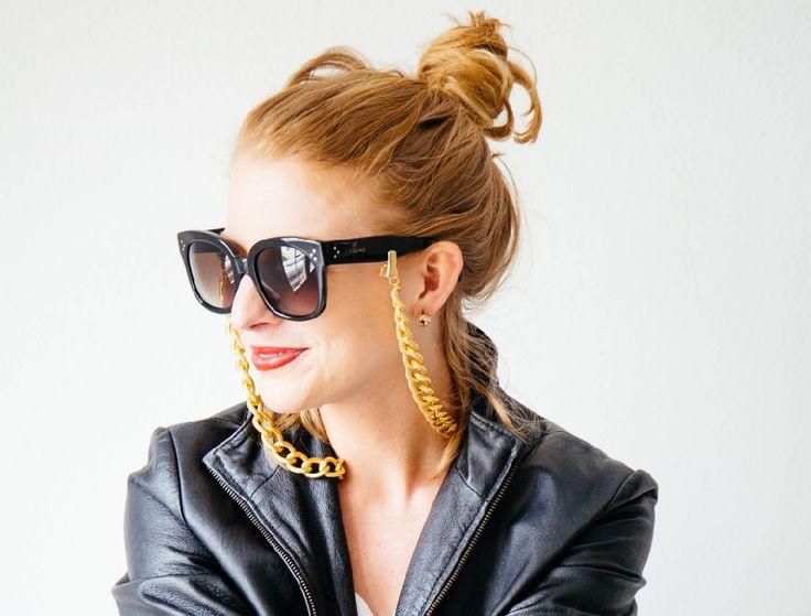 veronica deore thick gold chain // statement eyewear jewerly // croakies // sunglasses straps // gold chain //  glasses