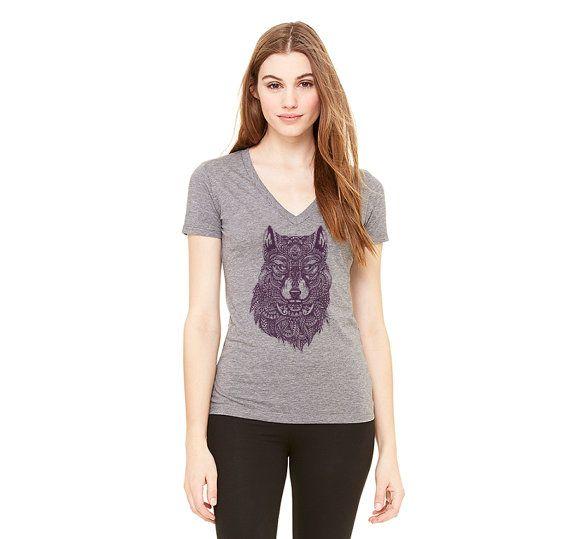 TRIBAL WOLF  Purple print / Heather Grey T-Shirt. by CaswellMade