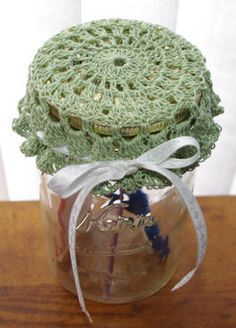Wide Mouth Jar Lid Cover Crochet freebie pattern. Very retro, love it. Nice share so thanks xox