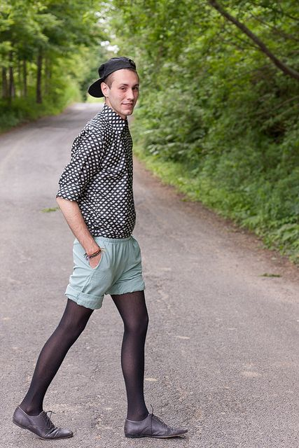 As men's pantyhose continues to move from the periphery toward mainstream acceptance, more men are also wearing colored legwear (black, blue, dark brown) with shorts. Medical reasons [ edit ] Pantyhose and other