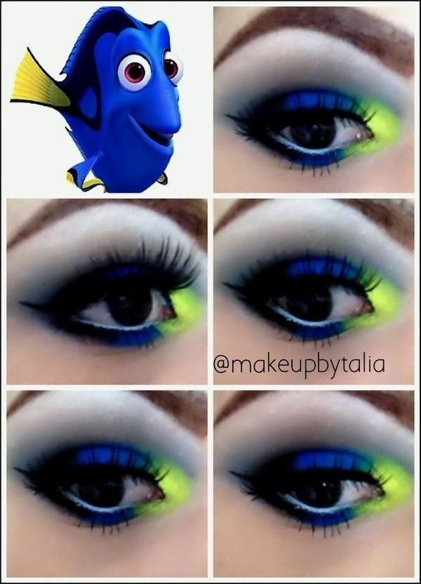 Just keep swimming! dory inspired finding nemo makeup eye shadow gory halloween special fx makeup
