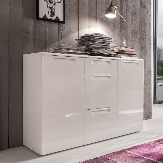Smart Sideboard In White With 3 High Gloss Drawers ...
