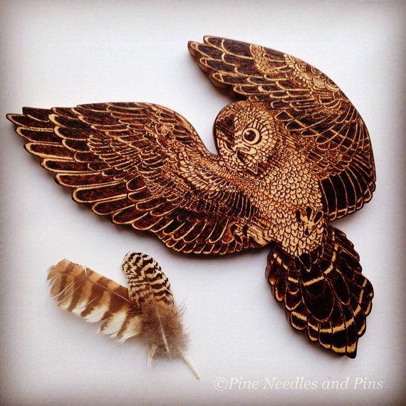 Owl in flight wall hanging, Owl Wall Decor, Wood Owl, pyrography owl, bird lovers gift, wall art