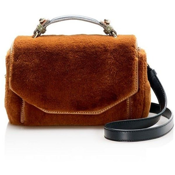 Maje Faux-Fur Satchel ($365) ❤ liked on Polyvore featuring bags, handbags, brown bag, man bag, brown purse, handbag satchel and brown satchel handbag