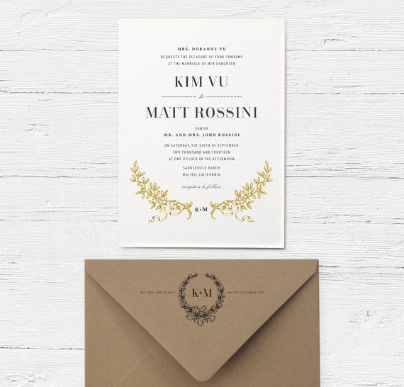Tree Branches Wedding Invitation in Gold