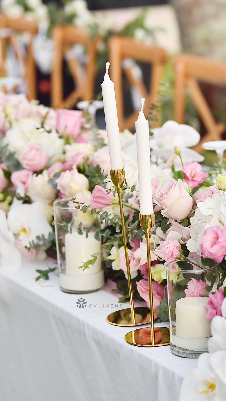 90 X132 Rectangular Oblong Polyester Tablecloth White Flower