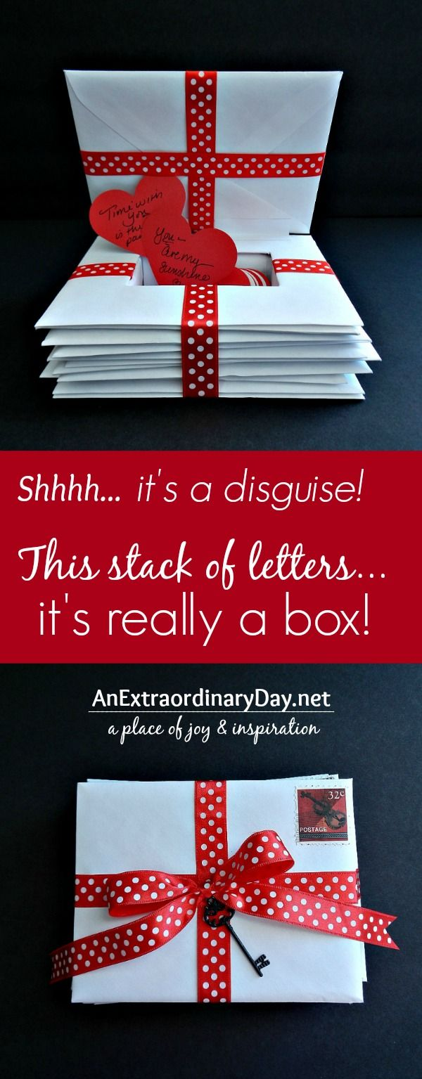 Craft a box disguised as a stack of letters to hold words of affirmation for your significant other. It is the perfect Valentine's Day or anniversary gift.