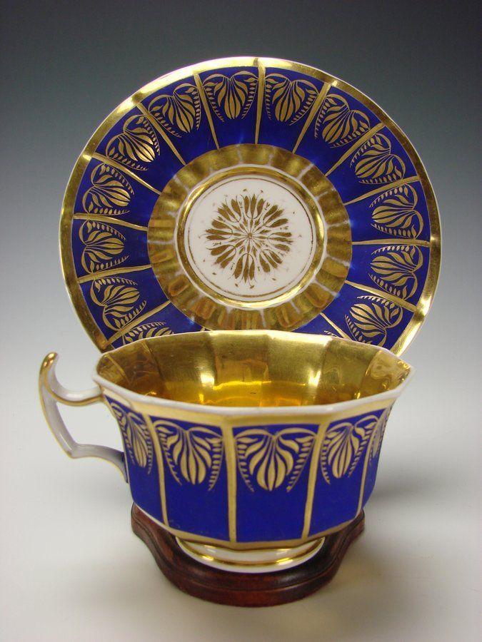 Antique German KPM Porcelain China Cobalt Blue and Gilt Cup Saucer