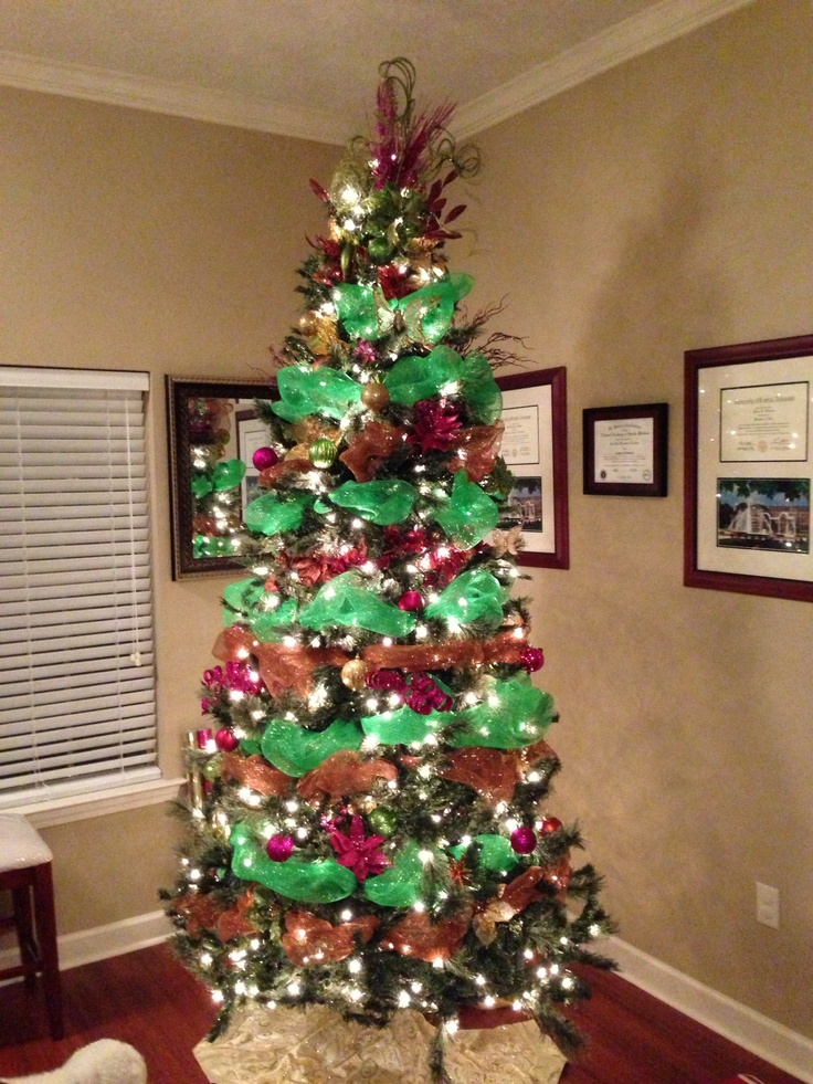 My Christmas tree! Green, orange, brown, gold, and added pink this year!!!