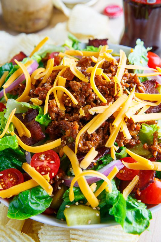Bacon Cheeseburger Salad...All of the flavours of a bacon cheeseburger in a salad with a warm bacon vinaigrette!