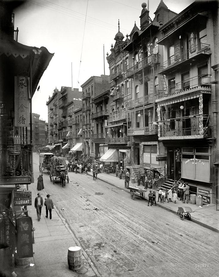 "Shorpy Historical Photo Archive. Chinatown: 1900.New York circa 1900. ""Chinatown -- Mott Street."" 8x10 inch dry plate glass negative, Detroit Publishing Company."