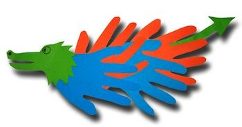 Paper Crafts For Kids hand print dragon