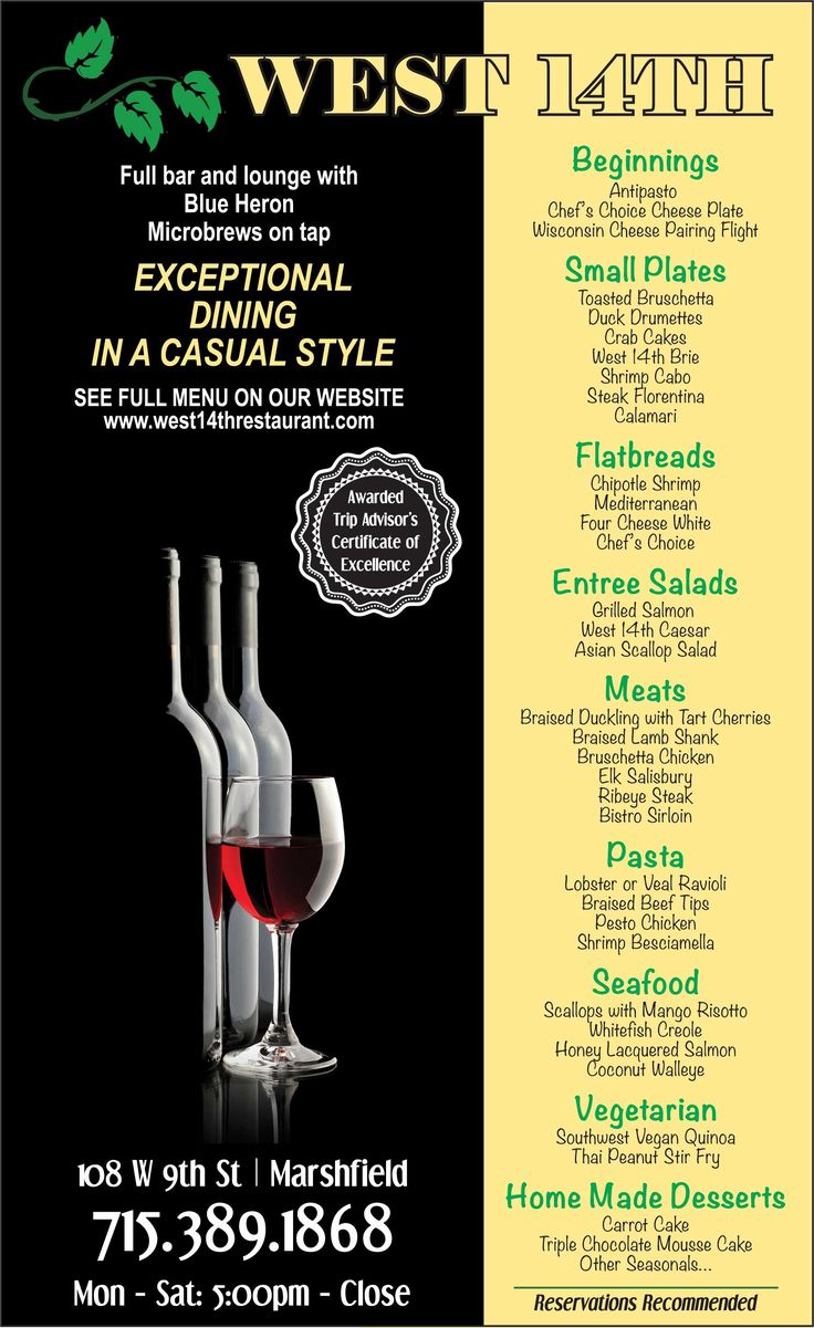 west 14th restaurant menu marshfield wi - Yellow Restaurant 2015