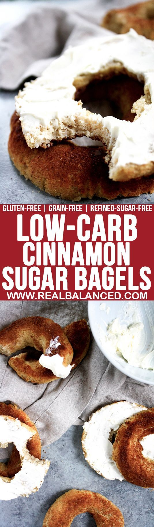 Low-Carb Cinnamon Sugar Bagels: Low-carb, gluten-free, grain-free, vegetarian, & refined-sugar-free; only 5.6g net carbs per serving!