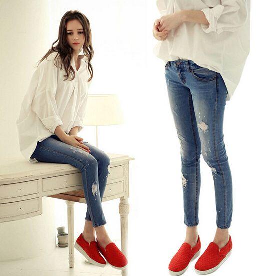Оригинальные одной дамы красивый Тонкий стрейч брюки изношенные вымытые джинсовые брюки молния карандаш брюки ноги джинсы женские