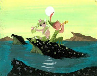 Mary Blair concept art of the Mermaid Lagoon, for Disney's Peter Pan.