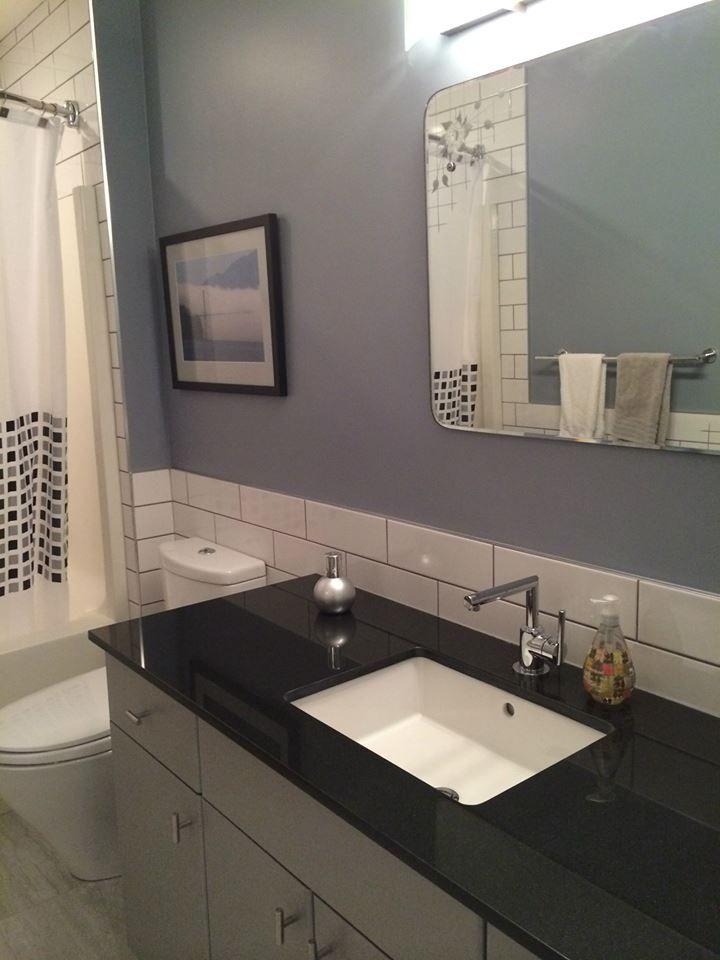Absolute Black Granite Counter Top Kohler Sink Moen Faucet Vintage Mirror White