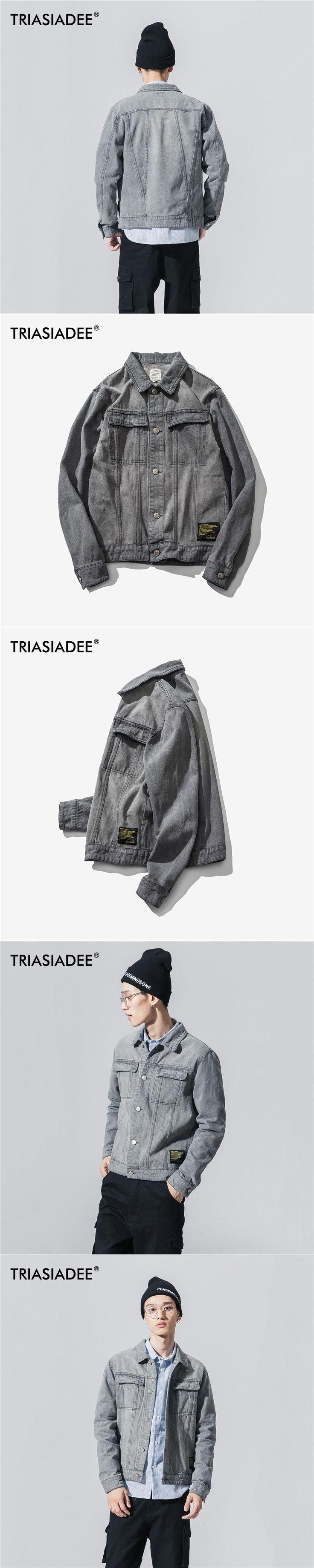 TRIASIADEE Denim Jacket Men Jaquetas Masculina Inverno Chaqueta Hombre Jean Jacket