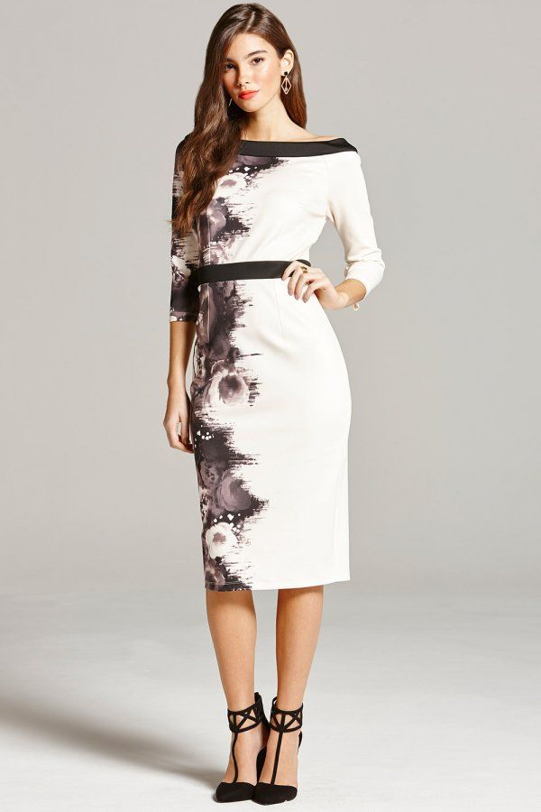 Black and Nude Rose Print Bodycon Dress