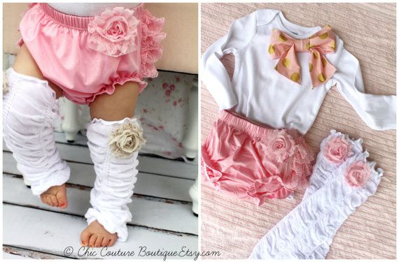 Baby Girl 1st Birthday Outfit. Christmas Holiday Outfit Set of 3 Items, Lace Diaper Cover, Leg Warmers, Bow Bodysuit Pink Roses Gold Chevron
