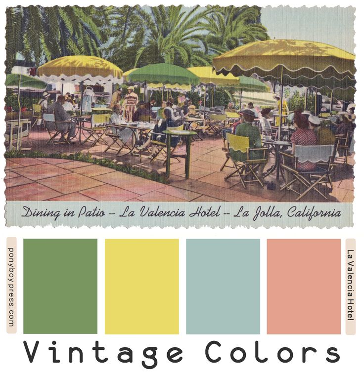 Vintage Color Palettes - La Valencia Hotel - Ponyboy Press ponyboypress.com - See blog for hex colors and ideas on how to use your favorite Vintage Color Palettes