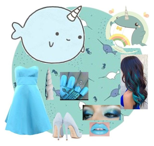 """""""Narwhal Costume"""" by recari-13 ❤ liked on Polyvore featuring Monique Lhuillier, My Little Pony, Dee Keller and Maybelline"""