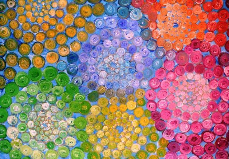Wizja Świata, 2011 Adriana Karima  Rozmiar oryginału 70 cm x 100 cm  Kiedy patrzę się na świat oczami duszy, widzę że wszystko zawiera się we wszystkim, we mnie jest Kosmos, jestem Kosmosem. Wszystko się ze sobą łączy, niewidzialnymi nićmi. Wszystko jest jednym, żywym organizmem, na którego składają się indywidualne istnienia, tańczące taniec swego życia.   Oryginał obrazu na sprzedaż  Dostępne reprodukcje obrazu Koloryduszy.com
