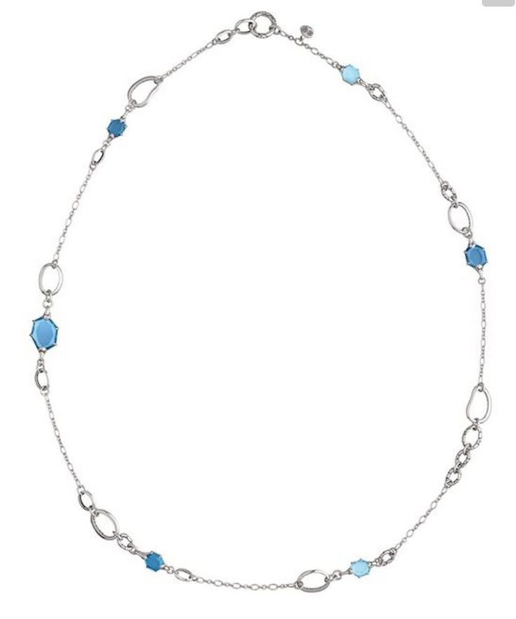 John Hardy Necklace Sterling Silver Kali Batu Sautoir Blue Topaz Hematite New #JohnHardy #StationChain#new #nwt #sale #discount #freeshipping #authentic #sterlingsilver #silver #ss #giftbox #30dayreturn #tag  #johnhardy #necklace #gemstones #kali #batu #sautoir #blue #hematite #topaz #long #stations #link #chain