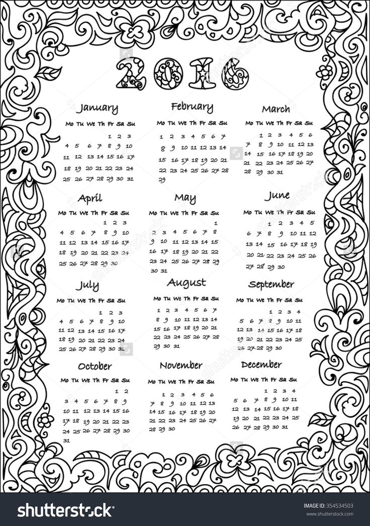 coloring pages calendar - Google Search