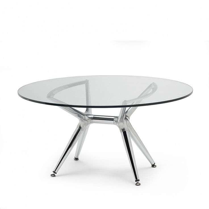 Trendy round coffee table chrome legs/glass top by Scab