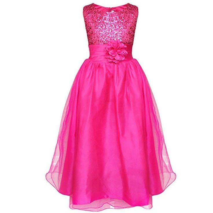 ZAH Sequin Mesh Flower Party Wedding Gown Bridesmaid Tulle Dress Little Girl(L/Hot Pink,L/9Y). girls clothes shop. kids party dresses. dresses. baby shower dresses. babies dress up games.