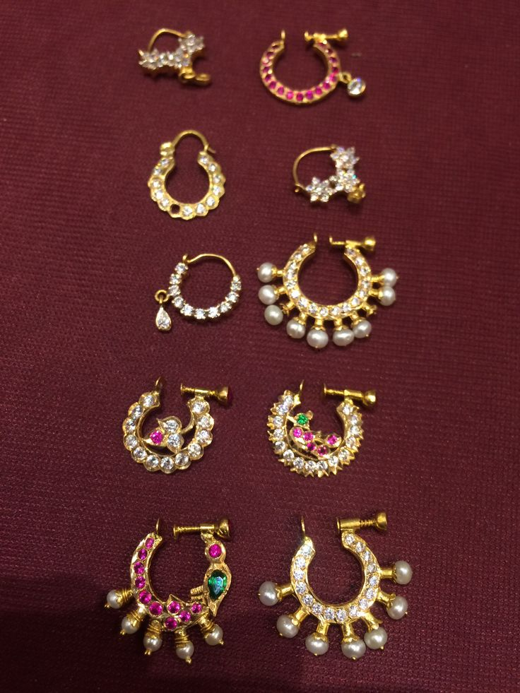 Nose Rings , antique, Pearl, Ruby, gold, Mookothi,Nathni, nose ring, Kempu, temple jewelery, gold nose ring, septum ring.